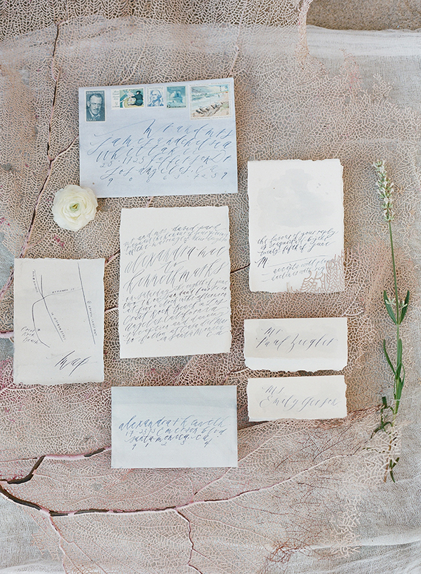 watercolorinspired, weddingshoot, Malibu, Fuji400h, editorial, calligraphyinvites